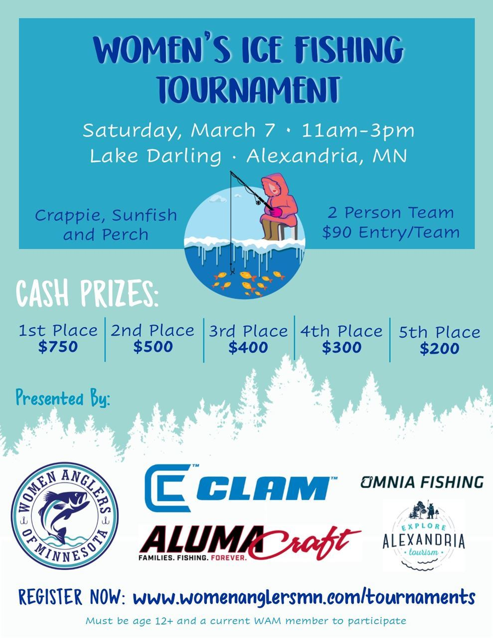 womens ice fishing poster